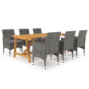 Gartenmöbel Essgruppe 6 Personen ,7-TLG. Terrassenmöbel Balkonset Sitzgruppe: Tisch mit 6 Stühle, Grau❀2396
