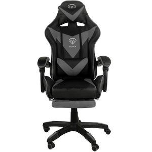Gaming Stuhl Home Office Chair Racing Chefsessel Bürostuhl Sportsitz Büro Stuhl, Farbe:Schwarz/Grau