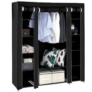 XXL Kleiderschrank mit Stange Stoffschrank mit 3 Türen 175 x 150 x 45 cm Faltschrank aus Vlies Gewebe SONGMICS schwarz LSF03H