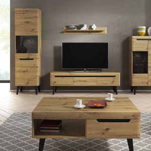 Selsey TV-Lowboard LIVINELLA - TV-Schrank in Artisan Eiche mit 3 Schubladen und Holzbeinen, 160 cm
