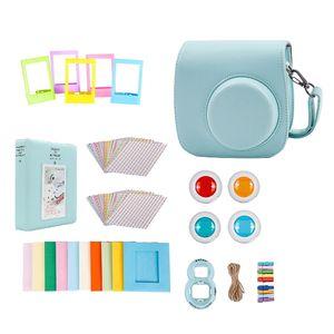 Für Fujifilm Instax Mini 9 Kamera PolyurethanGehäusefilter + Close Up Objektiv Geschenkset Eisblau PolyurethanKoffer 116 mm x 118,3 mm x 68,2 mm