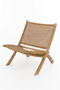 Lounge Sessel Teak Holz Leder Stuhl Clubsessel Relaxsessel klappbar Klappstuhl