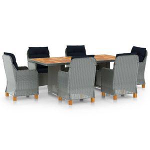 Gartenmöbel Essgruppe 6 Personen ,7-TLG. Terrassenmöbel Balkonset Sitzgruppe: Tisch mit 6 Stühle, mit Auflagen Poly Rattan Hellgrau❀1620