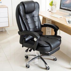 Crenex Bürostuhl Chefsessel Drehstuhl Computerstuhl mit Vibration & Fußablage aus Kunstleder in schwarz
