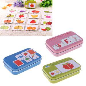 3 Schachteln Tier, Form, Gemüse und Obst Bildkarten Puzzlekarte zur Sprachförderung für Baby und Kinder, Anti-Riss