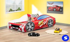 Lux4Kids Kinderbett Autobett Bett Schlafzimmer Spielbett mit Matratze Lattenrost 5 Racing Red 140 cm X 70 cm