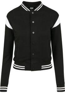 Urban Classics TB2618  Ladies Inset College Sweat Jacket, Größe:M, Farbe:blk/wht