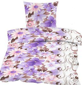 Seersucker Bettwäsche 135x200 +80x80 cm, multicolor Blüten, bügelfrei, Microfaser, + Waschhandschuh