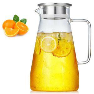Wasserkaraffe 1,5 Liter Karaffe Saftkrug Krug aus Glas mit Ausgiesser Sieb Küche