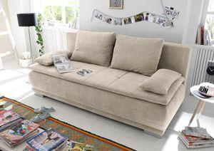 """Couch """"Luigi"""" Schlafcouch Bettsofa Schlafsofa Sofabett Funktionssofa ausziehbar sand beige 208 cm"""