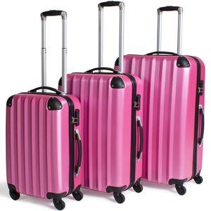 tectake Hartschalenkofferset 3-tlg. - pink