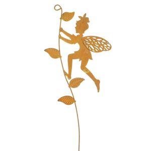 Elfe Fee am Blätterhalm L39cm Stecker Elfenstecker Gartenstecker Blumenstecker