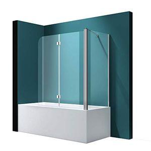 Mai & Mai Badewannenaufsatz C113R Faltwand 70 x 140 cm Klarglas 6 mm ESG-Sicherheitsglas