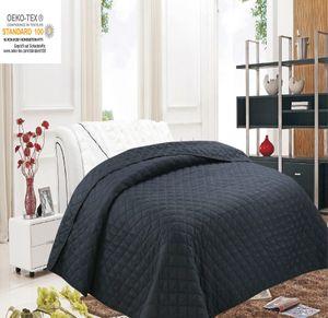 Tagesdecke Bettüberwurf Steppdecke Bettdecke Sofadecke 220x240 cm Schwarz