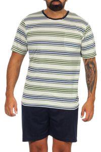 Herren Sommer Pyjama Short & Tshirt Schlaf-Anzug, Gelbgrün L