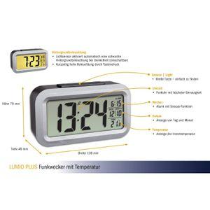 TFA 60.2553.01 LUMIO PLUS Funk-Wecker mit Temperatur schwarz/grau