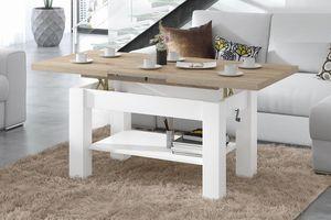 Design Couchtisch Tisch Astoria Sonoma Eiche / Weiß matt stufenlos höhenverstellbar 57 - 69cm ausziehbar 110 - 150cm mit Ablagefläche Esstisch