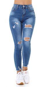 Skinny High Waist Jeans im Used-Look mit Löcher, Farbe: Blau, Größe: 40