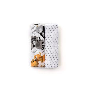 HappyMess - Premium Musselin Swaddle - 2er-Set 120x120cm, gratis 2er-Set 35x35cm, 100% Baumwolle, Pucktücher, , Farbe:grau/schwarz/waschbär