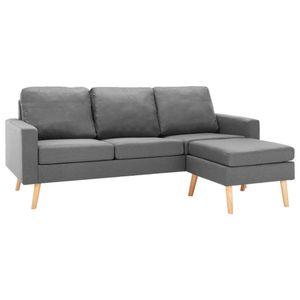 vidaXL 3-Sitzer-Sofa mit Hocker Hellgrau Stoff