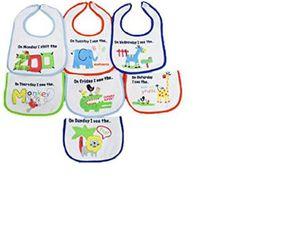 ROCKa BUY Baby 7tlg. Set Lätzchen Mo-So Rückseite PEVA Tiermotive