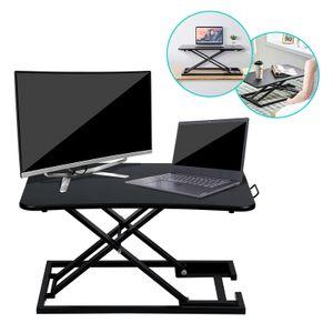 karpal Sitz-Steh-Schreibtischaufsatz 70 x 47 cm Sit-Stand Workstation Desktop Steharbeitsplatz hoehenverstellbar 6-39.5cm,Belastbar bis 10 kg (Schwarz)