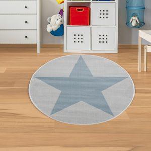 Kinderteppich Stern Grau Blau Velour Rund : 133 cm, Rund
