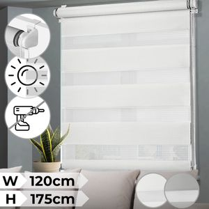 Doppelrollo - Weiß, 120x175cm, für Fenstermontage, Lichtdurchlässig & Verdunkelnd - Rollos, Seitenzugrollo, Fensterrollo, Sonnenschutzrollo, Springrollos