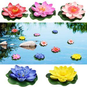 Schwimmende Blumen Künstliche Seerosen Eva Lotus 5 Stück Wasserlilie Pflanzen 10cm Teichrose Eva-Schaum Seerose Lotusblüte für Aquarium Terrasse Garten Pool Garten Teich