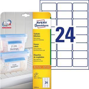 AVERY Zweckform Tiefkühl Etiketten 63,5 x 33,9 mm weiß 600 Etiketten
