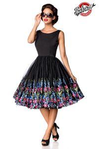 Belsira Premium Vintage Blumenkleid schwarz S