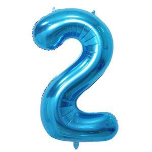 Oblique Unique 1x Folien Luftballon mit Zahl 2 Kinder Geburtstag Jubiläum Party Deko Ballon blau