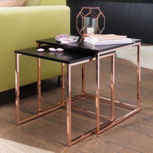 WOHNLING Satztisch CALA Schwarz / Kupfer Beistelltisch MDF / Metall | Couchtisch Set aus 2 Tischen | Kleiner Wohnzimmertisch | Metalltisch mit Holzplatte | Ablagetisch modern