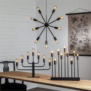 Kerzenleuchter 'Pix' - 9-armig - E14 Fassung - H: 50cm, L: 42cm - schwarz