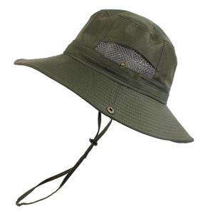 Sommer Sonnenhut Bucket Männer Boonie Hat Quick Dry UV-Schutz-Hut Faktor 50+ -(Armeegrün,)