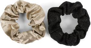 styleBREAKER 2-Teiliges Haargummi Set, Einfarbig Glänzend - Glitzernd, elastisch, Scrunchie, Zopfgummi, Haarband 04027031, Farbe:Taupe-Schwarz