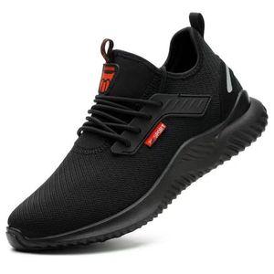Herren Sicherheitsschuhe Arbeitsschuhe Damen Leicht Atmungsaktiv Schutzschuhe Stahlkappe Sneaker Schwarz Größe:41