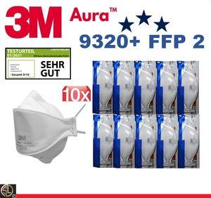 10er Vorteils Pack 3M™ Aura™ 9320D+ Mundschutzmaske FFP2, ohne Ventil II CE2797 II (0% MwSt)