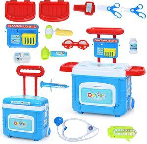 COSTWAY 2 in 1 Kinder Arztkoffer mit Lichter, Soundeffekt und Stauraum, Kinder Rollenspiel Spielzeug Doktorkoffer höhenverstellbar, Medizinisches Rollenspiel-Set rollbar, inkl. Zubehör
