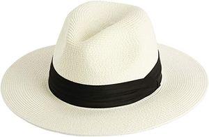 Damen Panamahut Breite Krempe Stroh Sonnenhut für Sommer und Strand Verstellbare Strohhut 61-64cm
