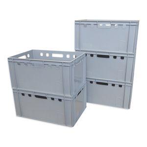 5 x Eurofleischerkiste Vorratsbox E3 Kiste Behälter Gemüsekiste stabelbar Farbe grau (5xE3 grau)