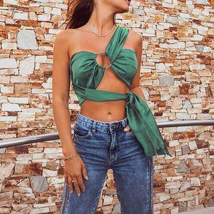 Damen Casual Einfarbig Elastischer Schultergurt Bauchnabel Leibchen Top Größe:L,Farbe:Grün