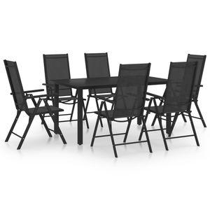 NEU Sitzgruppe 7-teilige Garten Möbel Set mit Tisch & 6 Stühle - Essgruppe für 6 Personen,, Aluminium Schwarz|3655