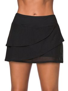 Damen Swim Rock Bikinihosen Bademoden Schwimmröcke Bottoms Tankini Strandkleider,Farbe:Schwarz,Größe:M