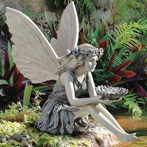 Garten Sonnenblumen Feen Statue Frühling Gartenfigur Blumenfee Skulptur für Rasen, Balkon, Innenhof