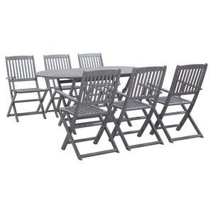 Gartenmöbel Essgruppe 6 Personen ,7-TLG. Terrassenmöbel Balkonset Sitzgruppe: Tisch mit 6 Stühle, Massivholz Akazie Grau❀1673