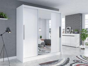 Mirjan24 Schiebetürenschrank Aris I, Kleiderschrank mit Frontspiegel, Garderobenschrank (Farbe: Weiß / Weiß + Spiegel)