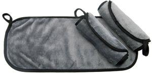 3 waschbare Abschminktücher, 18x40 cm, grau, Mikrofaser