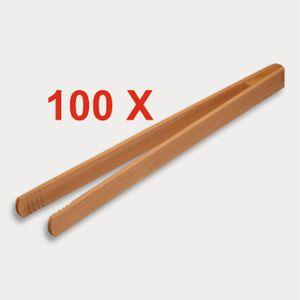 100 X Grillzange, geleimt aus Holz 30 cm