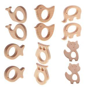 12 x Haustier Entwurfs Baby Beißring aus Holz Spielzeug Babypflege Zubehör
